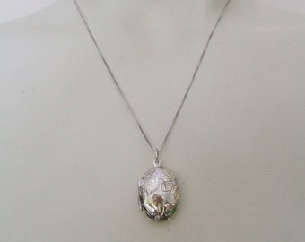 Very Small Vintage Sterling Silver Oval Locket Necklace with Floral Pattern with 18 inch Chain Sterling Engraved Floral Locket