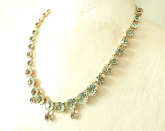 d6e4760fd Vintage Czech Art Deco Rivière Blue Glass Paste Gold Filled Necklace 1920s  Aquamarine