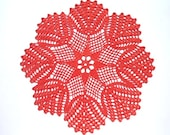 Red crochet doily, crochet centerpiece, pound lace doily, 13 quot
