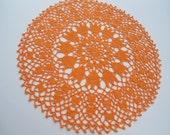Orange crochet lace doily , 13 39