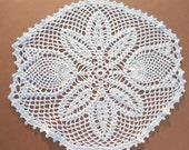 tulip crochet doily, lace doily, white crochet doily, 11 quot ,