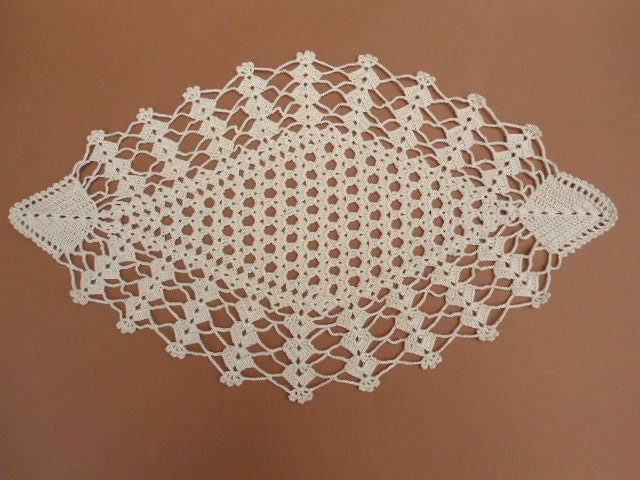 Tapete de crochet crudo tapete Oval de ganchillo mantel de | Etsy