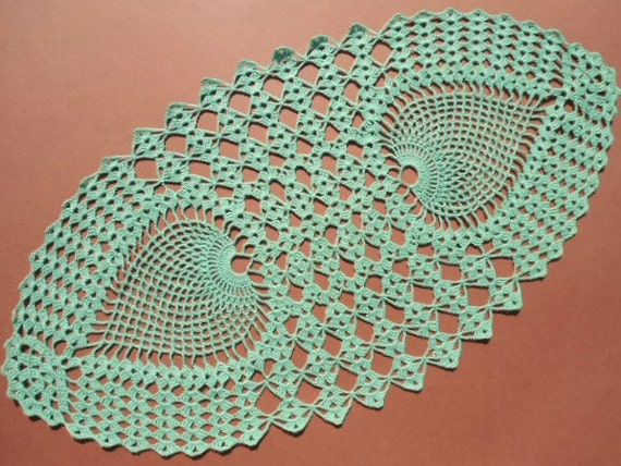 Grün häkeln Deckchen ovale Deckchen ovalen Spitzen-Deckchen | Etsy