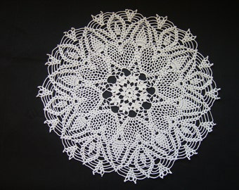 White handmade crocheted doily  cotton 16 inches across