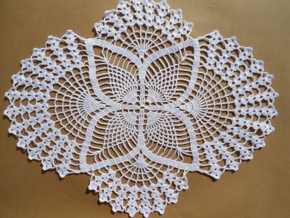 Häkeln Sie Deckchen weißen Deckchen ovale Deckchen Spitzen | Etsy
