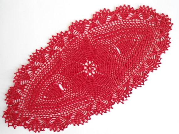 Ovale Häkeln Deckchen Tischdecke Läufer Lace Rot Etsy