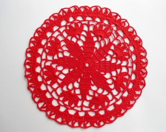 Round crochet doily / red doilies /lace / 8 ""