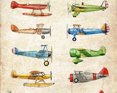 Vintage Airplane Collection, antiqued watercolor print