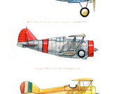 8x10 giclee print featuring three vintage airplanes in red, yellow and blue