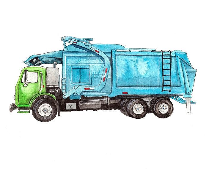 Trash Truck Front Loader Watercolor Print Boys Room Art