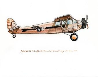 Fairchild 51 FC-2 vintage airplane watercolor print