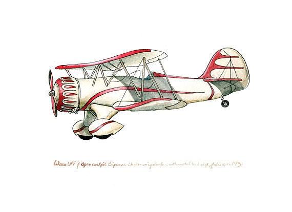 Waco Open-Cockpit Biplane vintage airplane watercolor print, 8x10