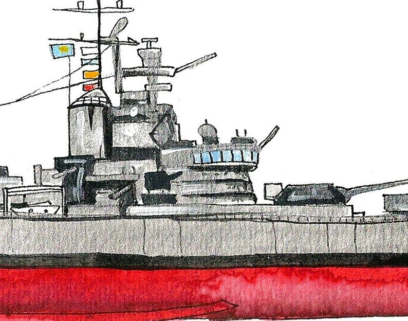 Naval Ship Watercolor Print 8x10