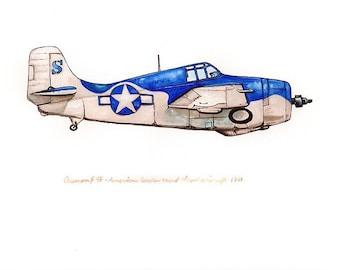 Grumman F4F vintage airplane watercolor print 8x10