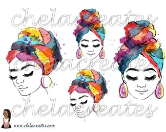 Colorful Headwrap Girl