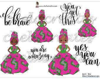 Kente Doll Pink Ankara Digital Sticker with Quotes