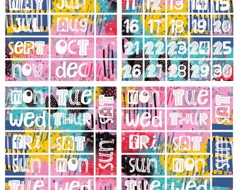 Collage numbers, Days, Months for Journal and planners