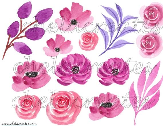 Pink Water Color Flowers Printable