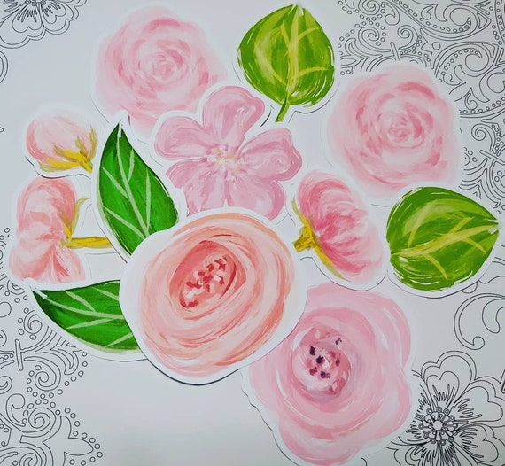 Pink Brush Paint Flowers