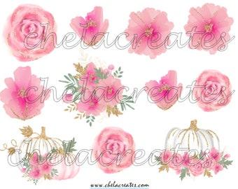 Pink flowers and Pumpkins Printable