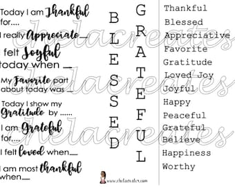 Grateful Journal Prompts and words
