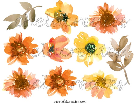 Yellow and Orange water color flowers Printable