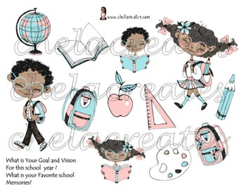 Kids Back To School digital stickers and Journal prompts