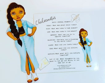 Laminated Doll and Journal Prompts Card