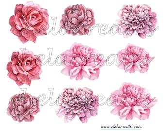 Pink Brush Paint Flowers Printable