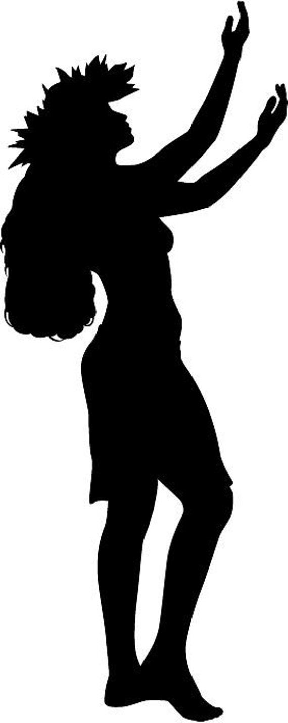 Hawaiian Girl Dancing Silhouette Die Cut Vinyl Decal