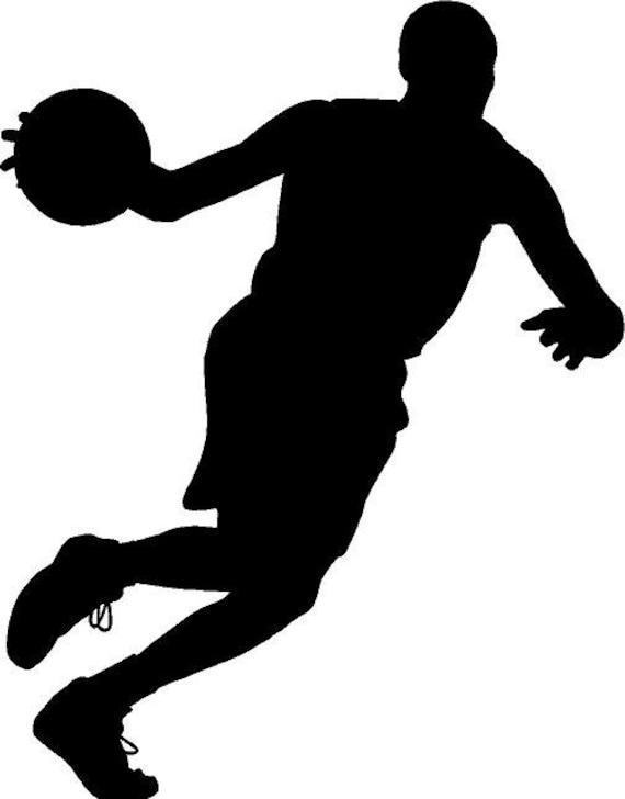 Basketball Dribbling High Silhouette Die Cut Vinyl Decal