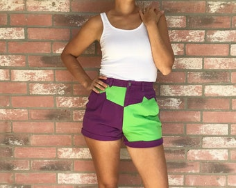 AMAZING Vintage 80's Mardi Gras High-Waist Denim Shorts