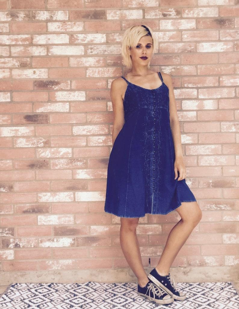 35e42d66ddfa Denim Dress / Slip Dress / 90s Clothing / Festival Clothing / | Etsy