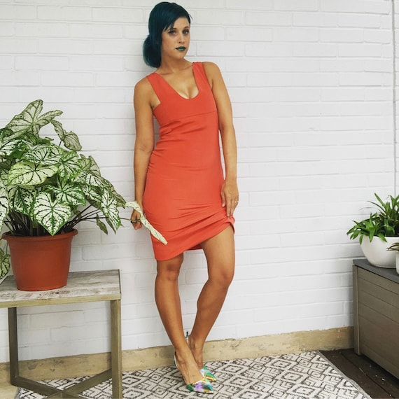 Silk Dress 90's Vintage Orange Sheath Dress