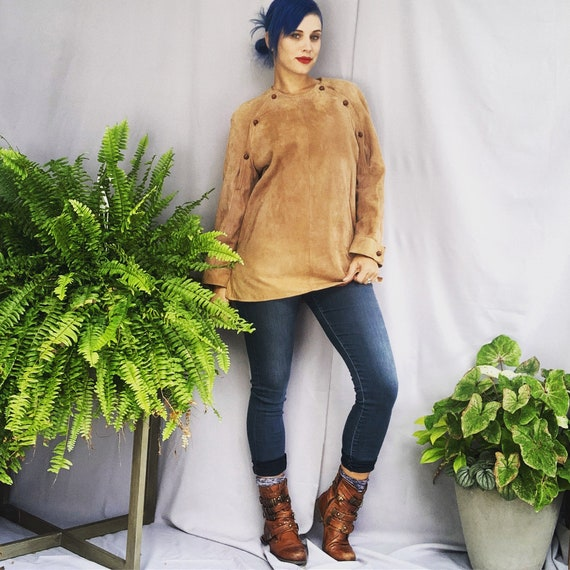 Leather Tunic 70s Tunic Leather Blouse