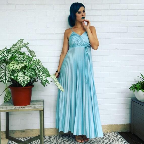 Homecoming Dress Empire Waist Dress 60's Gown Blue