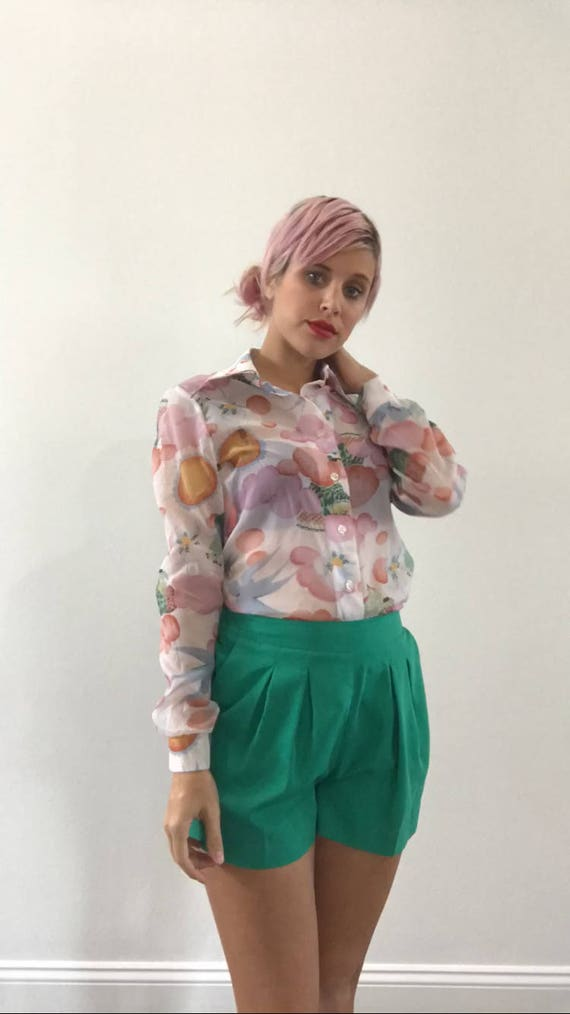 Vintage 70s Top Sheer Psychedelic Print Button Up