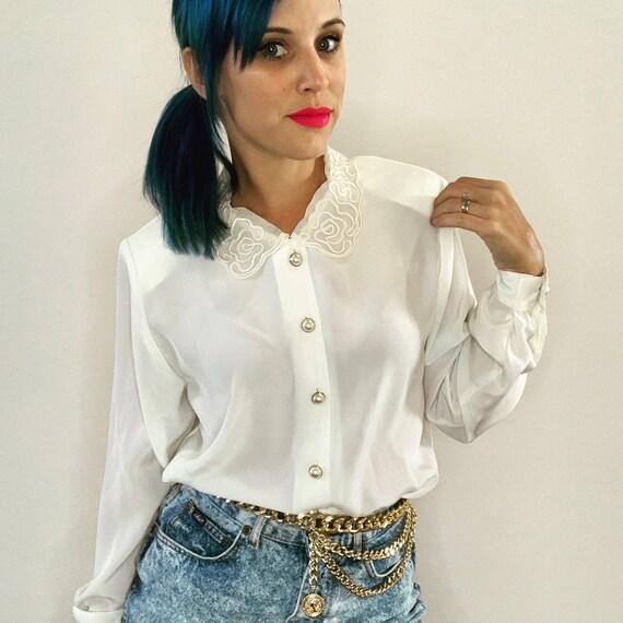 White Blouse Lace Collar Blouse