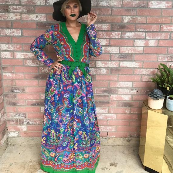 Boho Gown 60's Gown Vintage Maxi Dress - image 2