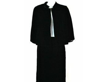 1950s Black velvet Suit, Caplet Jacket and Skirt by Johnnye Jr, Office, Business Wear