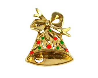 Vintage Christmas Bow Bell Brooch with Red and Green Enamel Ornaments Pin