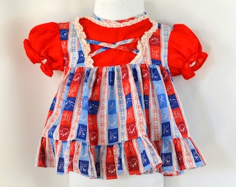1960s/1970s Infant Red, White and Blue Stripe Print Dress, Size 6 Months