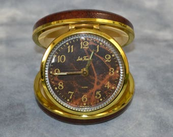 1960s/1970s Round Brown Marbled Wind Up Travel Alarm Clock by Seth Thomas