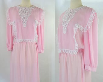 1980s Pink and White Tatted Lace Bib Sheer Long Sleeve Dress by Sheena