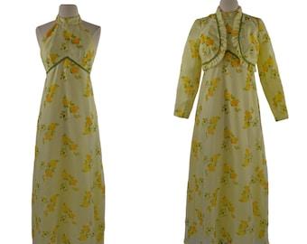 1970s Yellow Rose Sleeveless Dress and Bolero Set