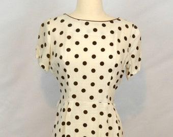 1950s White and Brown Polka Dot Hourglass, Wiggle, Sheath Dress, Needs TLC, Pattern Piece
