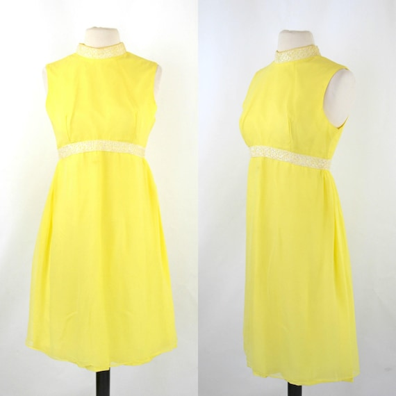 1960s Bright Yellow Sleeveless Chiffon Midi Length