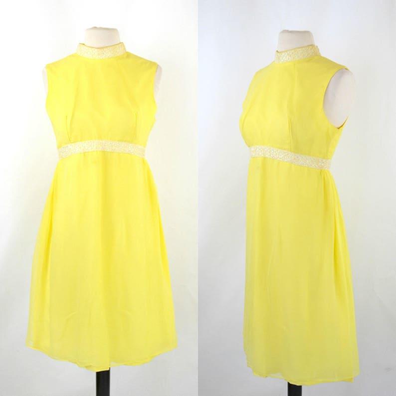 1960s Bright Yellow Sleeveless Chiffon Midi Length Dress MOD image 0