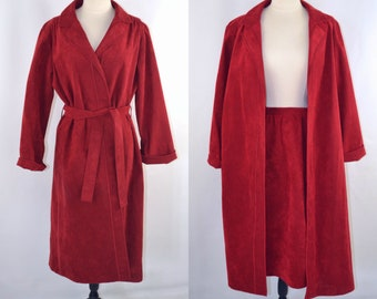 1980s Red Faux Wrap Skirt and Trench Coat Style Jacket by Brookin Ultrasuede