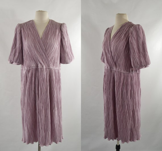 1980s Mauve Fortuny Pleated Midi Dress